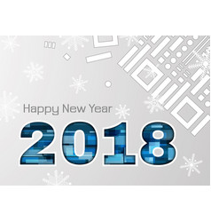 2018 new year abstract numbers with snowflakes vector image