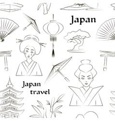 Japan travel pattern vector image