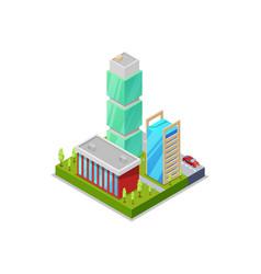 modern urban quarter isometric 3d icon vector image