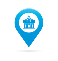 temple monastery map pointer icon marker gps vector image vector image