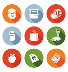 Trading on the market Icons Set vector image vector image