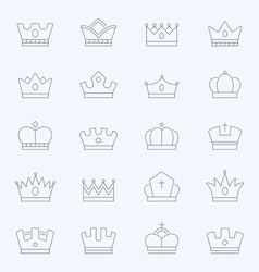 Crown thin outline stroke icons vector image vector image