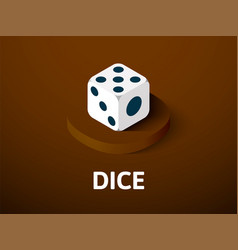 dice isometric icon isolated on color background vector image