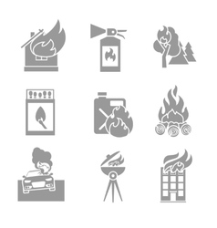 Fire Protection Icons vector image vector image