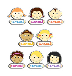 kids with superb label plates set vector image