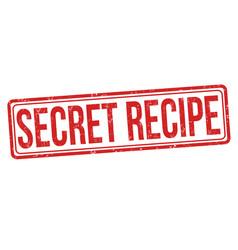 secret recipe grunge rubber stamp vector image vector image