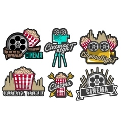 Set cinema labels and logos isolated vector