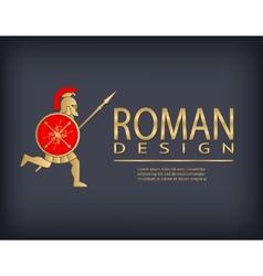 Antique warrior logo template vector image