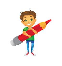 cartoon boy keeping pencil in hand vector image