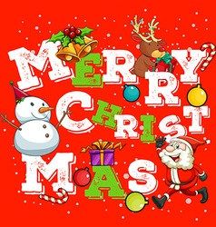 Christmas card with Santa and snowman vector image