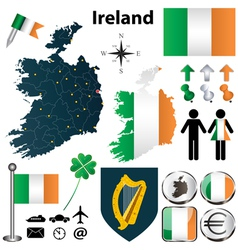 Map of Ireland with regions vector image vector image