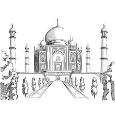 Sketch of India Landmark Taj Mahal vector image