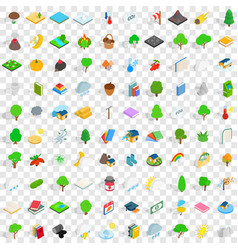 100 forest icons set isometric 3d style vector