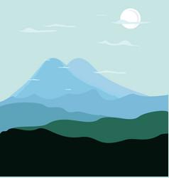 a flat mountain landscape vector image