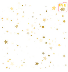 Abstract pattern of random gold stars on white vector
