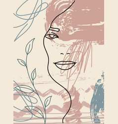 Abstract woman face poster line minimalism 6 vector