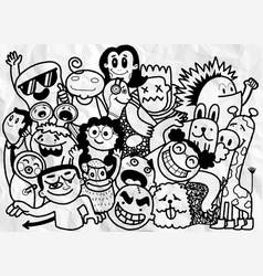 Activities funny doodle people set hand drawn vector