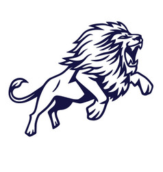 angry lion jump logo mascot design vector image