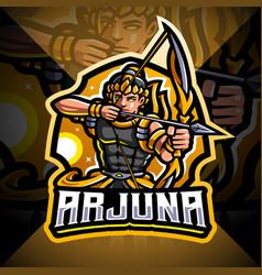Arjuna archer esport mascot logo vector