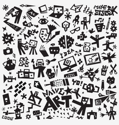art tools - icon set design elements vector image