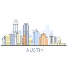Austin cityscape texas - city panorama austin vector