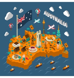 Australia Touristic Attractions Isometric Map vector