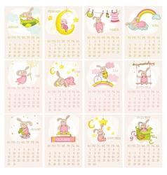 Baby Bunny Calendar 2015 - week starts with Sunday vector image