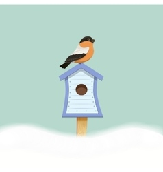 Bird sitting on birdhouse vector image