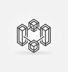 Block chain crypto technology line icon vector