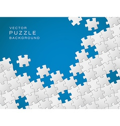 blue background made from white puzzle pieces vector image