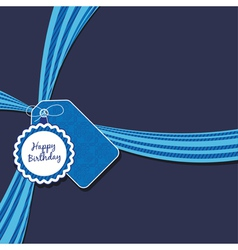blue birthday ribbon vector image