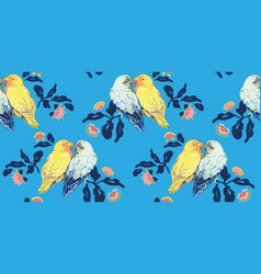 Blue pattern with love birds vector