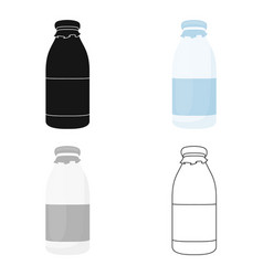 Bottle milk icon cartoon single bio eco organic vector