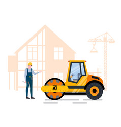 Building and paving project and machine vector