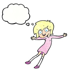 Cartoon crazy excited girl with thought bubble vector