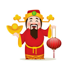 Chinese god of wealth holding traditional lantern vector