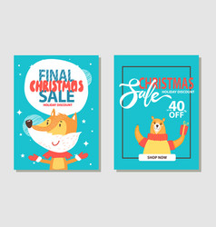 christmas sale with animals vector image
