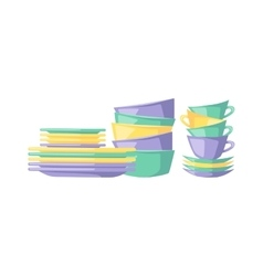 Clean dishes empty dishware kitchen utensil vector