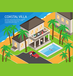Coastal villa horizontal vector