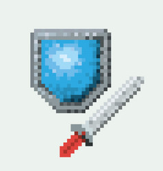 color pixelated set of shield and sword vector image