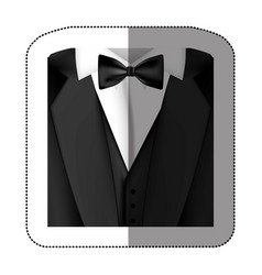 Color sticker suit with bow tie icon vector