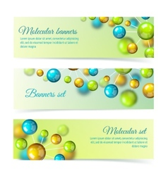 Colored molecule banners 3d set vector