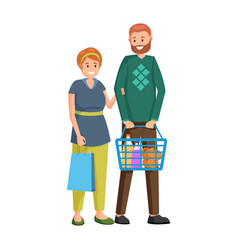 couple buying grocery products vector image