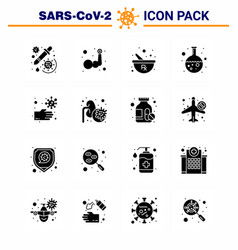 Covid19-19 icon set for infographic 16 solid glyph vector