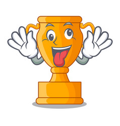 Crazy golden trophy cup isolated on mascot vector