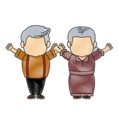 Cute grandpa and grandma parents standing together vector