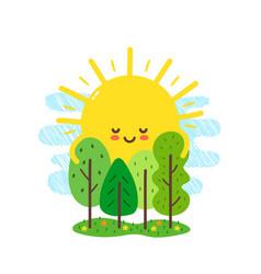 cute happy smiling sun hugs vector image