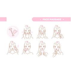 cute pretty girl take care face skin vector image
