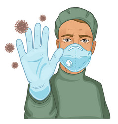 Doctor in protective suit with stop gesture vector