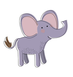 Elephant cartoon watercolor silhouette in white vector
